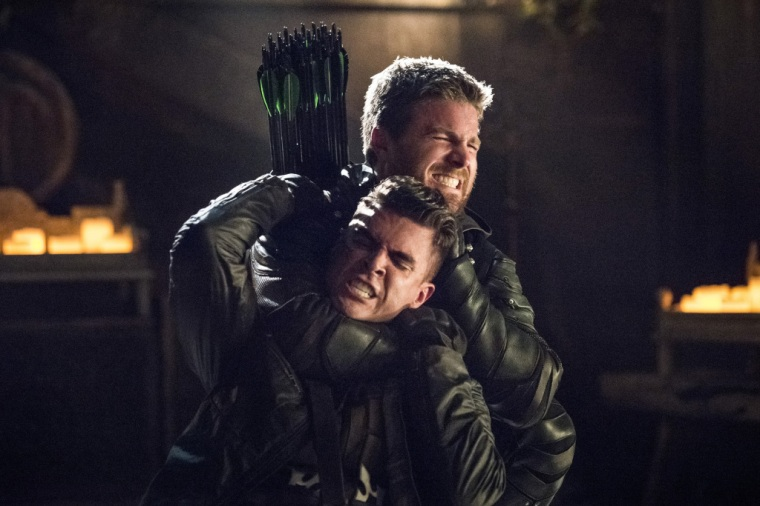 Adrian Chase and Oliver in Arrow's Season 5 Finale Courtesy of The CW
