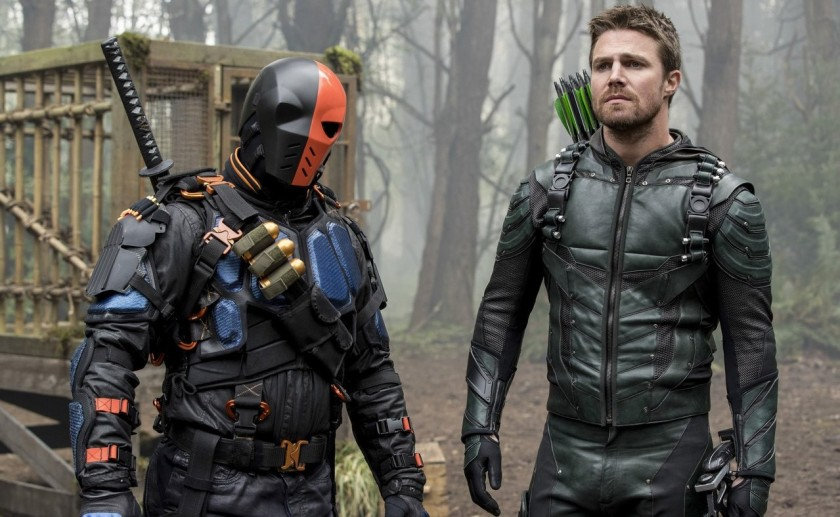 Deathstroke and Green Arrow in Arrow's Season 5 finale Courtesy of The CW