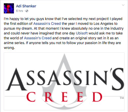 Screenshot of Adi Shankar's Facebook Post
